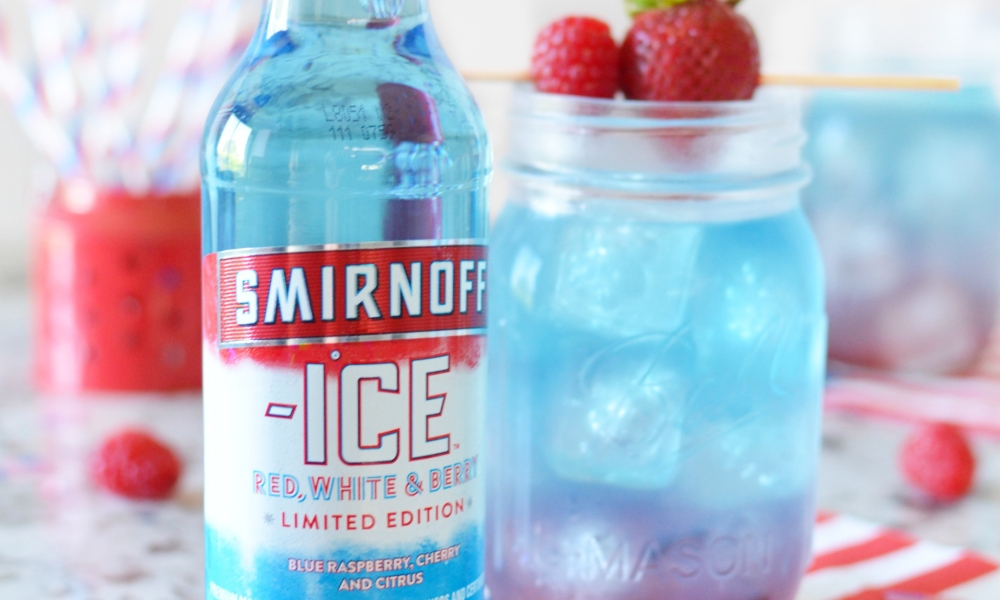 A delicious lemonade cocktail made with the limited edition smirnoff ice red, white and berry.