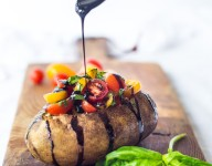 Baked Idaho® Potato with Tomato-Basil Relish and Balsamic Drizzle