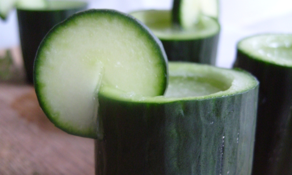 Refreshing, semi-sweet, shots served in a hollowed out, fresh, cucumber! The perfect summer appetizer to keep your guests having fun and cooledoff.