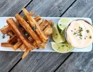 Golden Cassava Fries with Sriracha Mayo