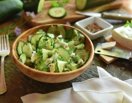 Cucumber Feta Cracked Peppercorn Salad