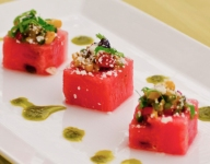 Watermelon Cubes with Southwest Corn Salsa & Cotija Cheese