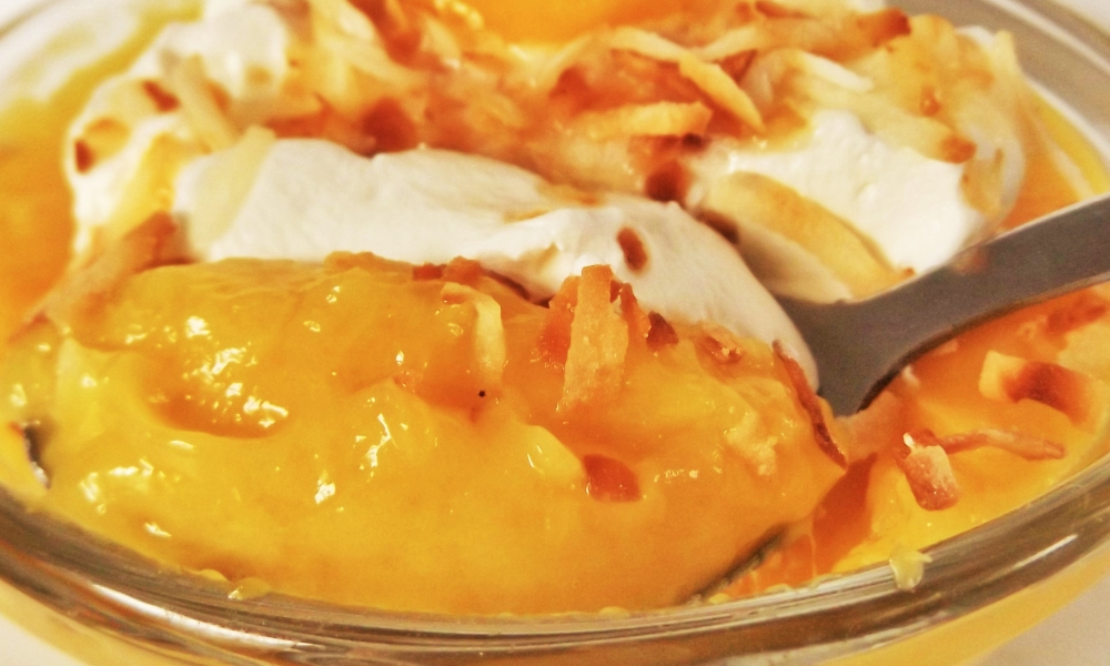 """Such a pleasingly sweet pudding with just enough sugar to """"sweeten the pot"""". The mango stands out really well with that hint of coconut and allspice to warm it up a bit."""
