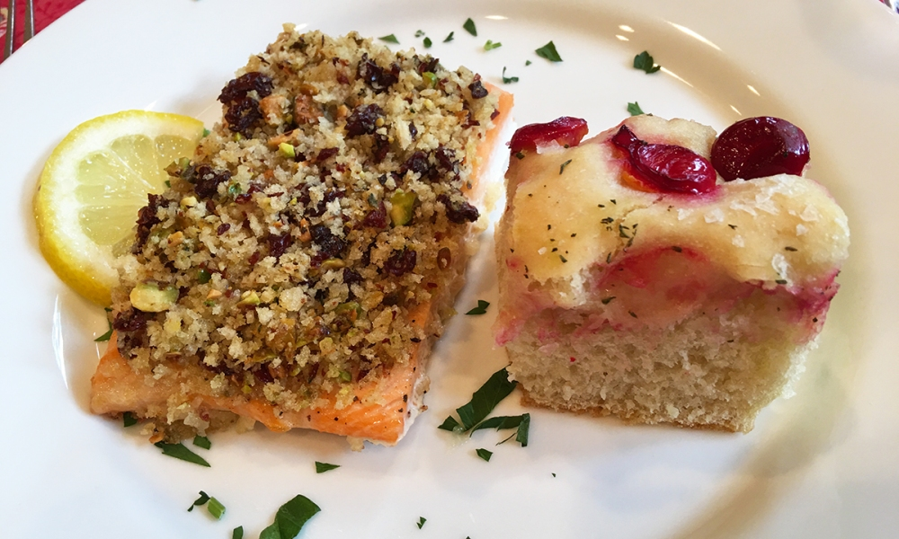 This recipe for Baked Salmon with Door County Cherries, Pistachios and Herbed Panko is from Janice W. Thomas of the Savory Spoon Cooking School in Door County, Wisconsin.