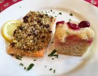Baked Salmon with Door County Cherries, Pistachios and Herbed Panko