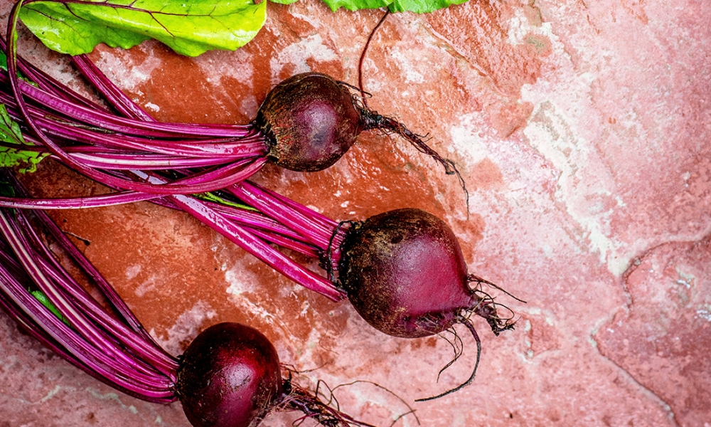 Consuming beets, or their juices, can decrease risk of obesity, diabetes, and heart disease. Beets also improve blood flow, promote healthy complexion, hair, improve athletic performance, increase energy, and help lower blood pressure, too!