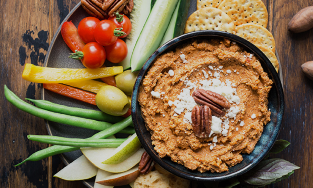 A simple quick make-ahead appetizer that's both nutritious and flavorful. Serve it with crackers or spread it on top of toasted bread slices with additional toasted pecans for an easy appetizer.