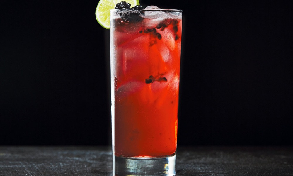 """""""You're in for a treat with this creepy concoction of sour cranberry juice and sweet blackberry schnapps created by Beetle House mixologist Gia Farrell."""""""