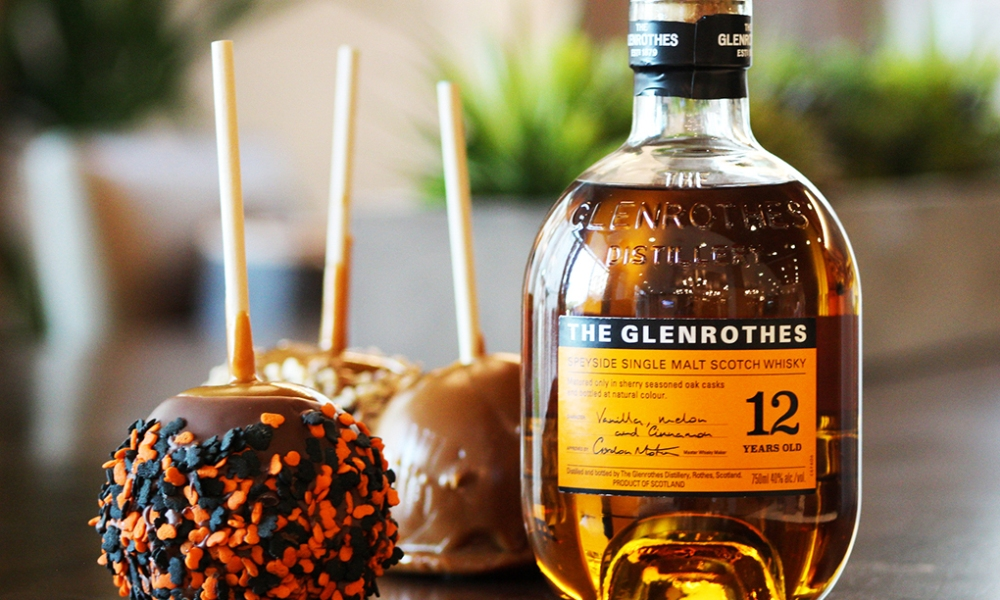 This Halloween, The Glenrothes single-malt Scotch brings you a dastardly whiskey and candy combo. These candy apples are definitely for the adults!