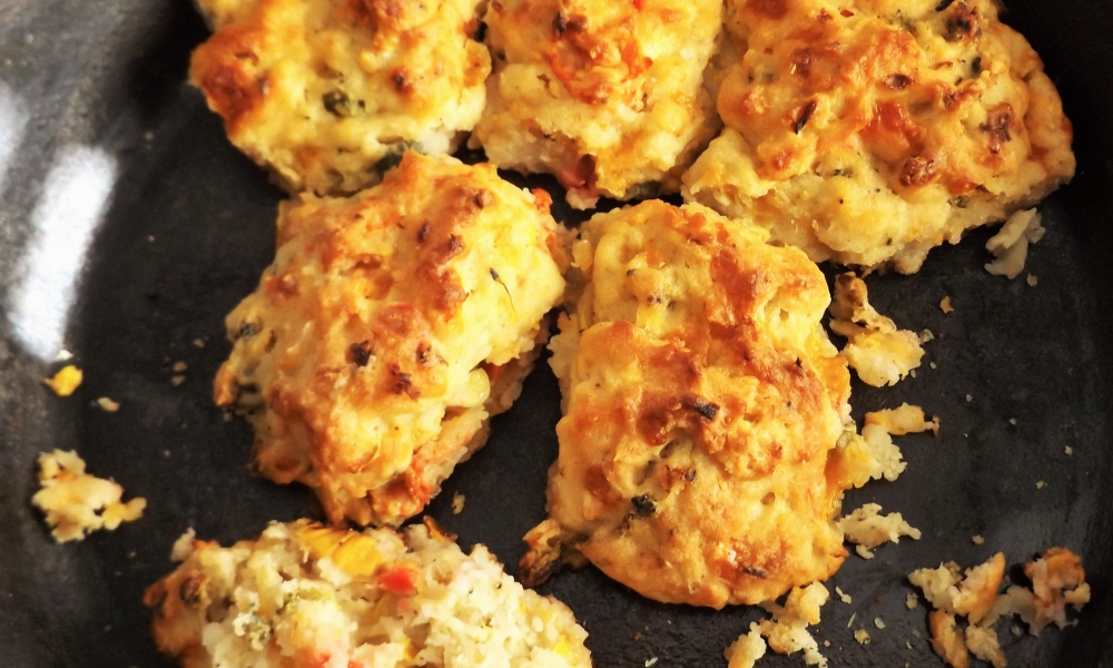 Simple, delicious and imaginative. Create your own colorfully tasty Skillet Veggie Drop Biscuits with a crunchy top and moist insides.