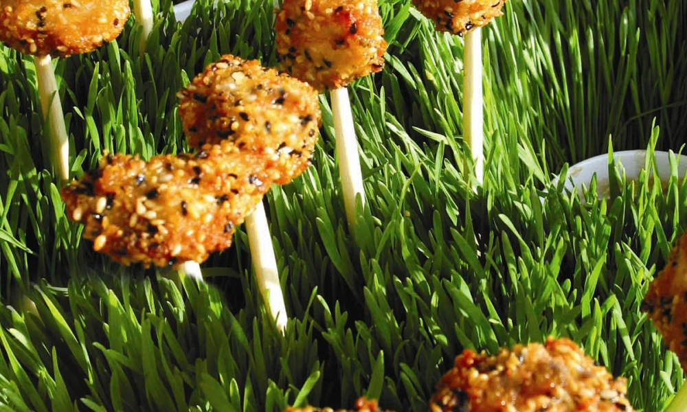 This recipe for Sesame Chicken Lollipops With Miso Dipping Sauce is easy to make, packs in a flavorful punch, and creates a very on-trend, handheld protein in a unique presentation with a delicious dipping sauce as well.