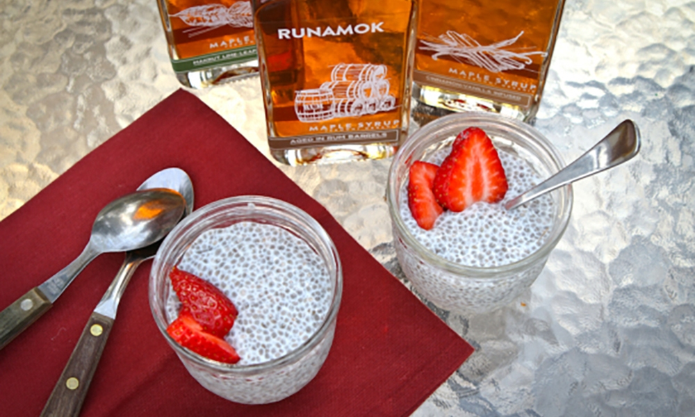 From our friends at Runamok®, a delightful Chia Pudding with Barrel-Aged Maple Syrup. It's made like overnight oats. You combine the ingredients in a small jar and refrigerate overnight for maple goodness the following morning.
