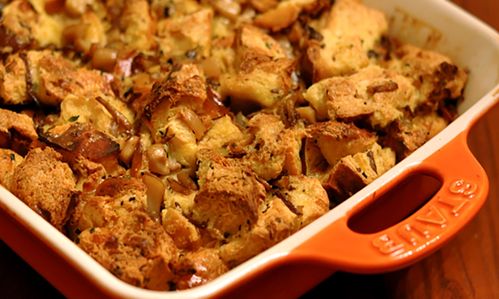 This versatile, savory Wild Mushroom Bread Pudding pairs well with meat or poultry and can be baked in a large dish or individual ramekins.