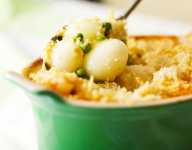 Onion, Leek and Pea Gratin
