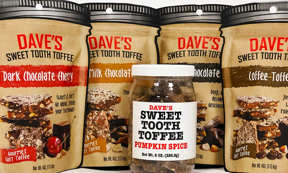 It was a hardship, but someone had to do it. Open all those bags of Dave's Sweet Tooth Toffee: hand made chocolate-coated toffee, in interesting flavors, no less.