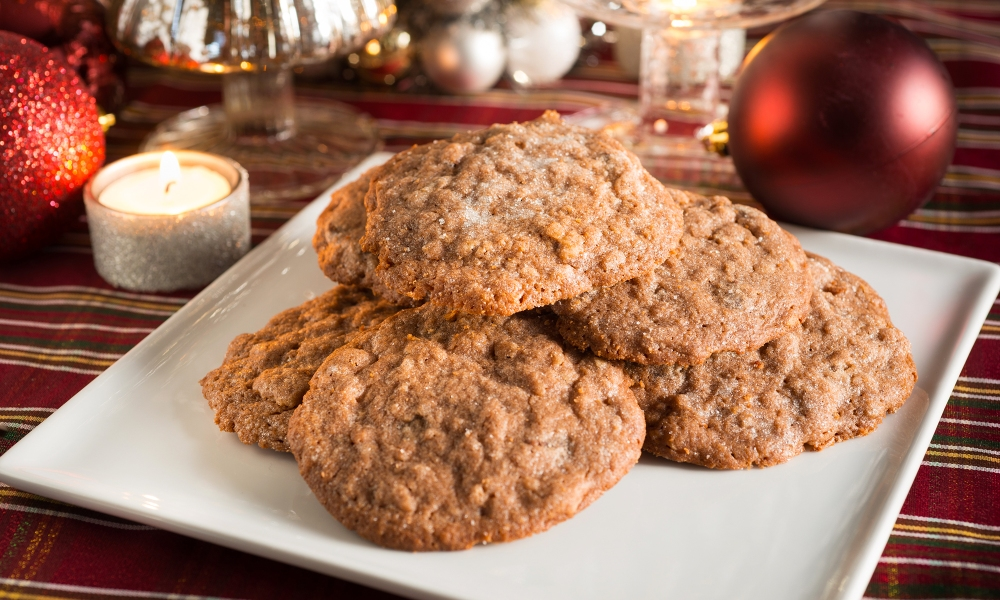 This plate of Cocoa-Crunch cookies, surrounded by a perfect Christmas setting of ornaments, were created from a recipe in author Joanne Fluke's latest culinary novel, Christmas Cake Murder.