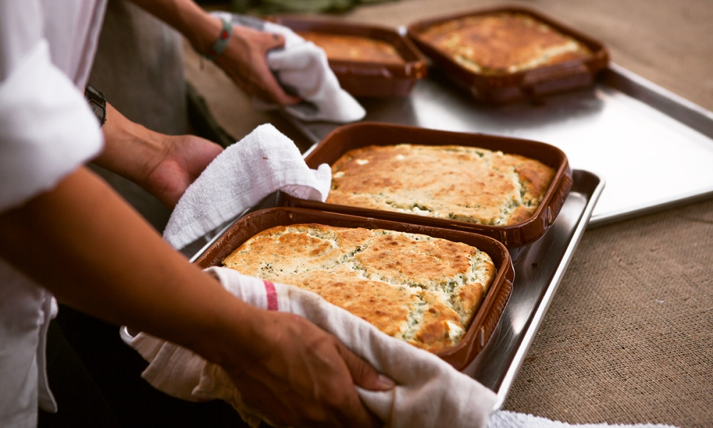 This Goat Cheese Soufflé is made with real butter, flour, whole milk, green garlic or leeks, heavy cream, eggs, goat cheese, fresh thyme and Italian parsley. A delight for the tastebuds!