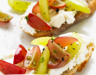 Grape and Goat Cheese Crostinis