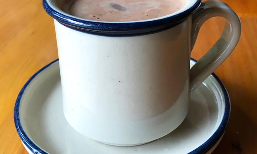 A cup of hot chocolate, called Chocolate Caliente, from the chefs at La Palomilla bed and breakfast in Mexico City.