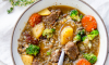 This Buckwheat Soup is a hearty dinner soup, almost a stew, with plenty of meat and potatoes, carrots, mushrooms and buckwheat in a rich, flavorful mushroom broth.