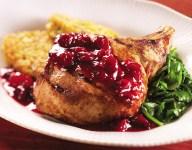 Watermelon Cranberry Glazed Pork Chops