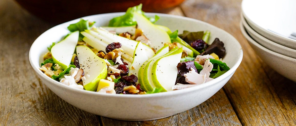 This Pear and Turkey Salad with Aged Gouda and Walnuts is just the thing! If you're whipping up a quick dinner for one or preparing for a party, this cornucopia of flavors promises to fill you up and make you happy.