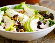 Pear and Turkey Salad with Aged Gouda and Walnuts