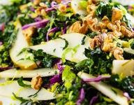 Kale Cabbage and Pear Salad with Citrus Dressing