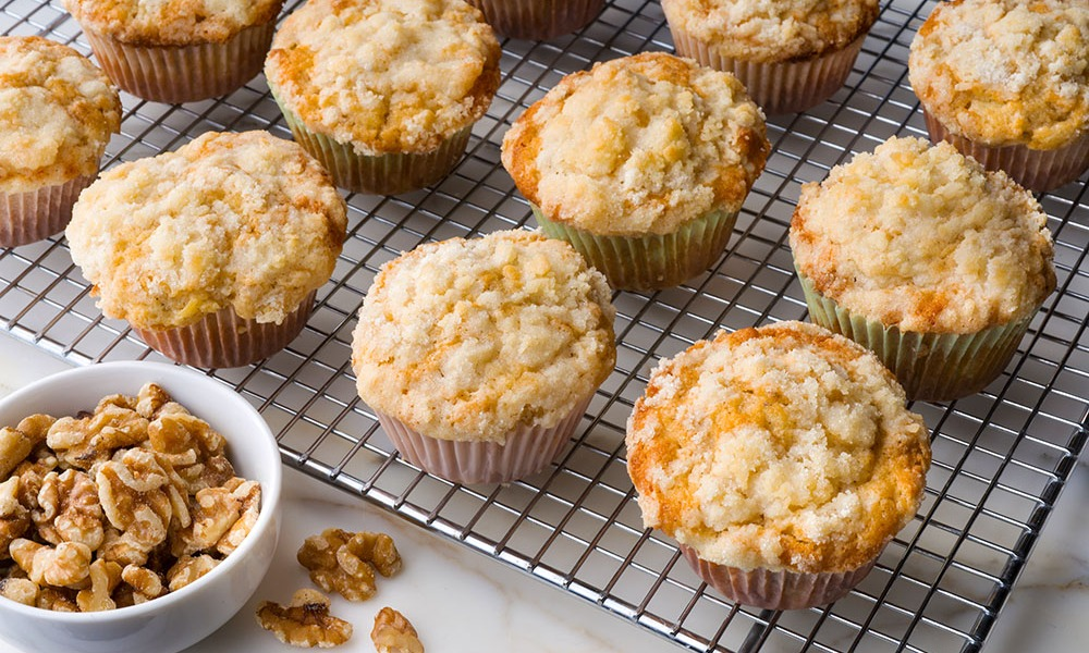 Here's a breakfast Pineapple and Walnut Muffin that will warm you to your core and give you both texture and great flavor. Just pour yourself a cup of coffee, as Hannah Swensen does in each of the culinary mysteries books in which she is featured, and sit down to a bit of delight.