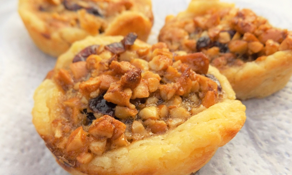"""Served in Scottish Shortbread """"cups,"""" these appetizers are sticky, salty-sweet and delicious. Shortbread has been around for many centuries, thought to have originated in Scotland as a specifically designed biscuit using yeast."""