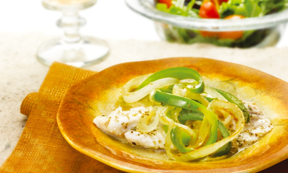 This recipe for Garden-Style Fish with Onions and Bell Peppers is a perfect light entrée that's full of flavor. White fish (tilapia, sole, perch or orange roughy) is sautéed with onions, bell peppers, vegetable broth, garlic and marjoram.