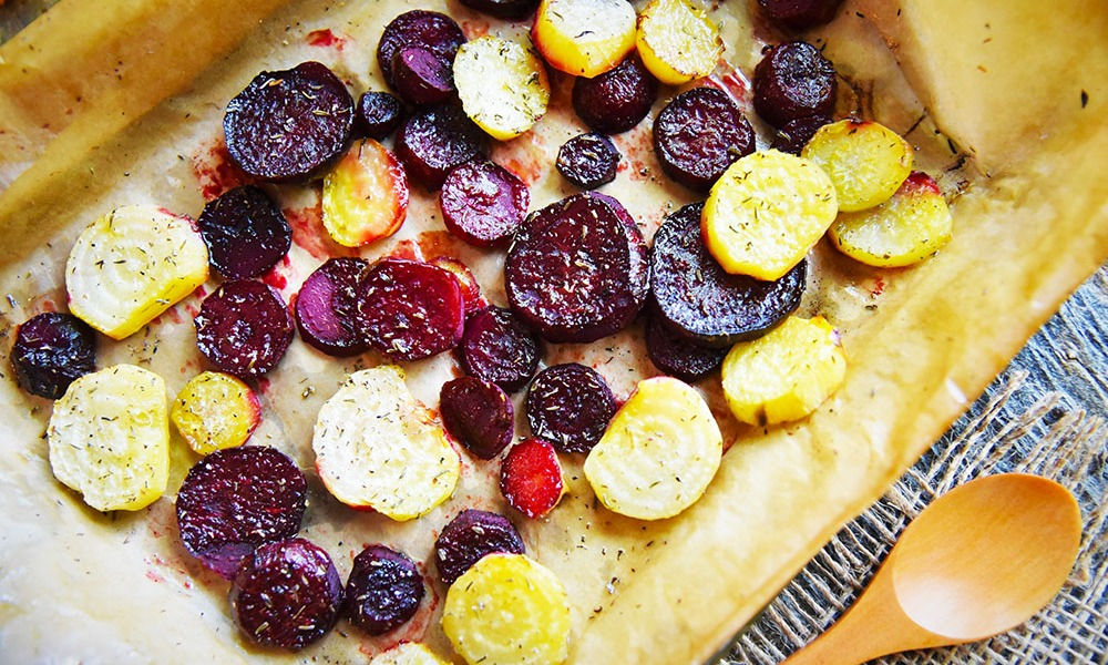 Bringing out hidden notes of flavor while adding an earthy yet aromatic smokiness, the simple roasting of root vegetables, like these multi-colored beets, make it super-easy to add a whole new level of flavor to your table!