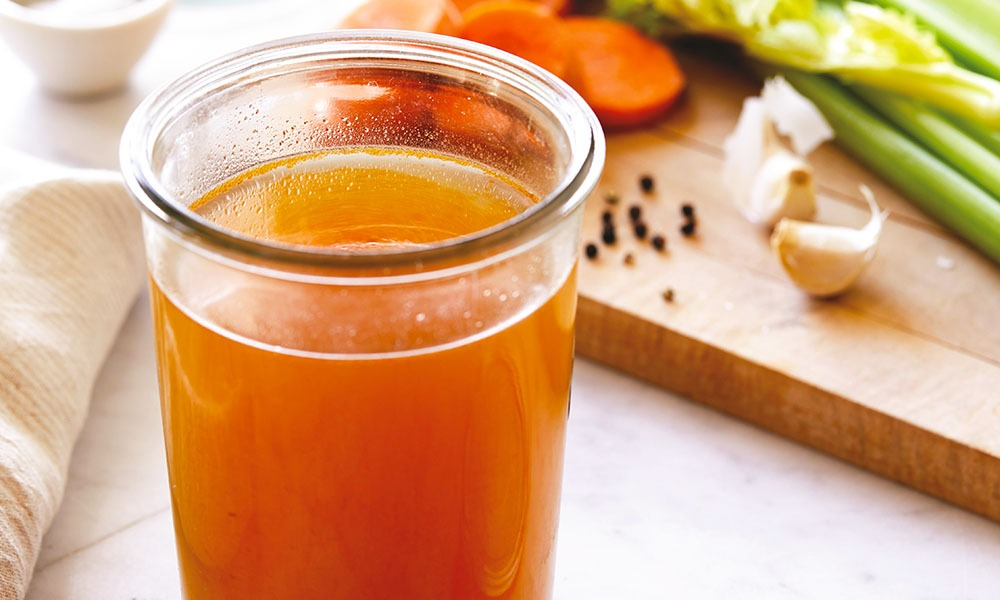 My favorite way to make bone broth is in a slow cooker, but you can also do it in a pressure cooker. If you roast the veggies and bones first, it gives the broth an amazing, rich flavor. You will feel such a boost of energy from the natural collagen in the bones, too. You can use the same basic recipe for chicken bone broth. Feel free to add more veggies and turmeric or other spices to vary the flavor and make the broth more nutrient-dense.