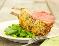 Crispy Herbed Rack of American Lamb with Buttered Spring Pea Mix