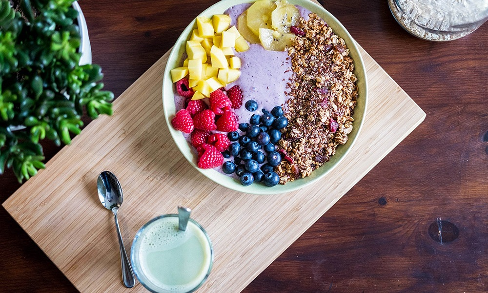 An assortment of fresh fruits and berries, a sampling of the superfoods featured in the American Diabetes Association Superfood Cookbook.