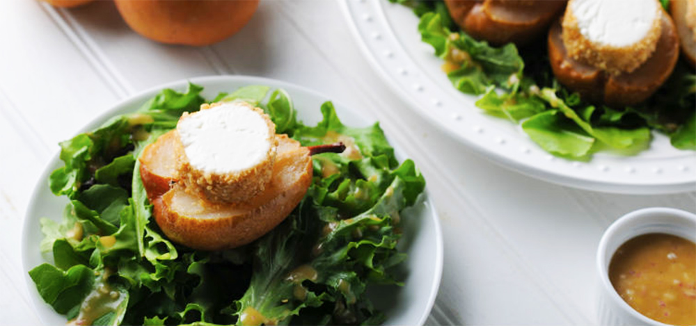 Roasting pears takes little effort yet garners big results. Pair roasted pears with fresh greens and a warmed round of soft goat cheese that's encrusted with crunchy chopped peanuts, and you have a salad that's a perfect balance of texture and flavor.