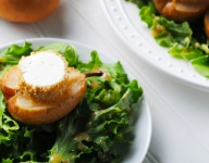 Warm Peanut-Crusted Goat Cheese with Roasted Pears